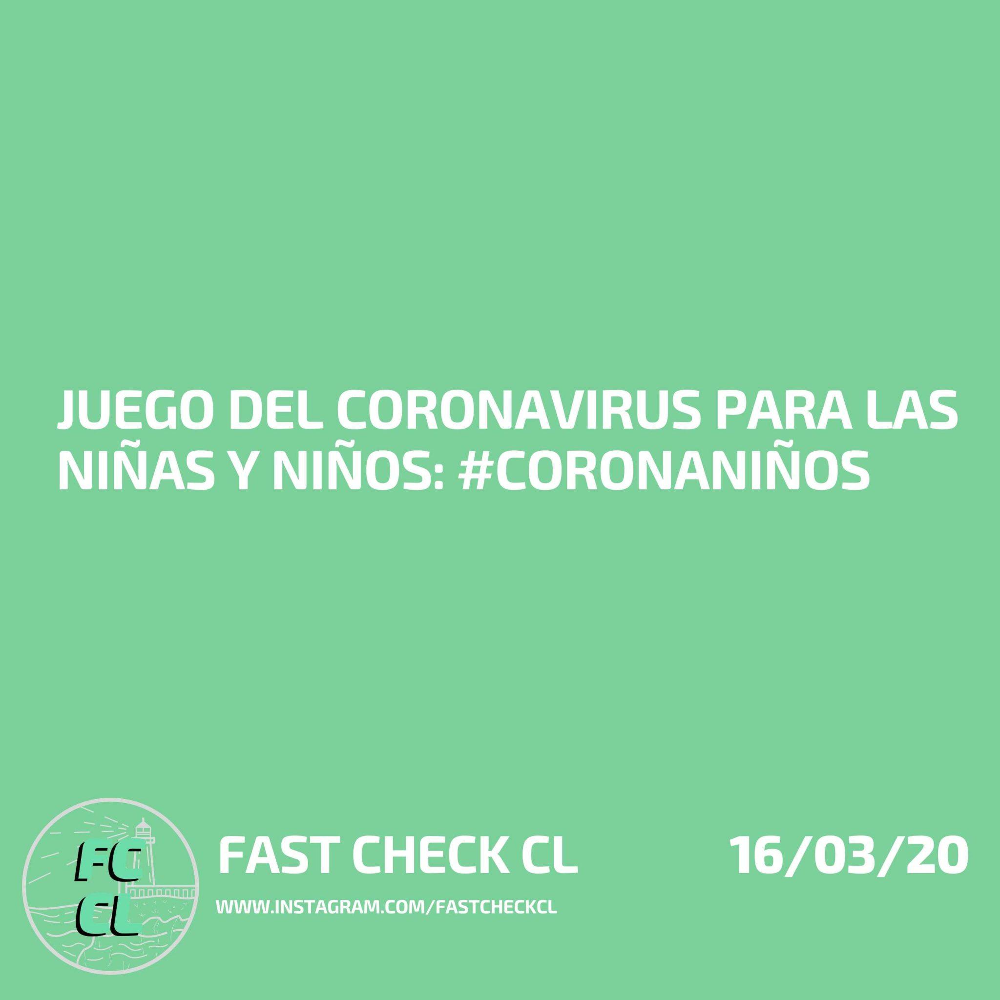 Juego del coronavirus para las niñas y niños: #coronaniños