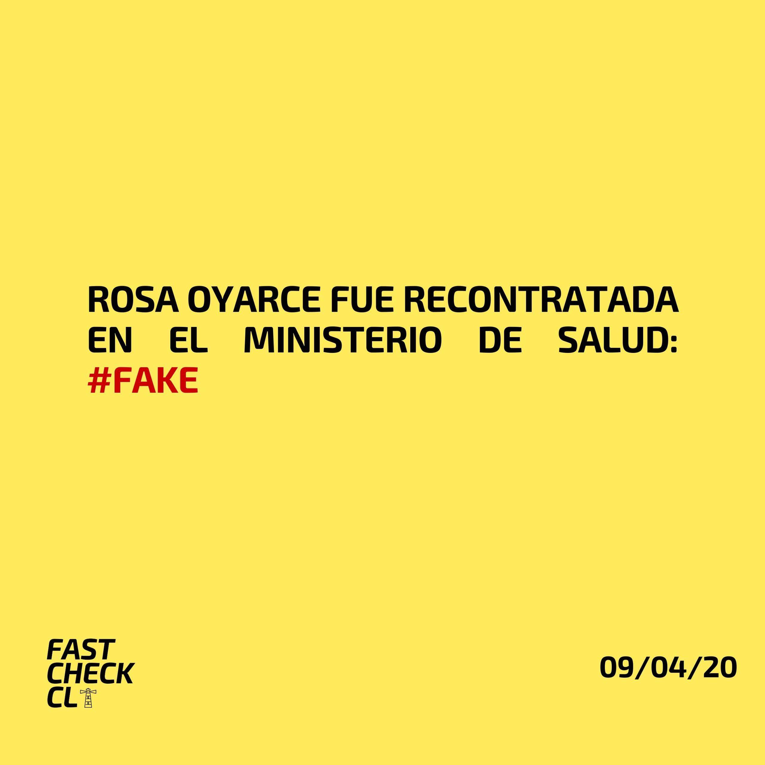 Rosa Oyarce fue recontratada en el Ministerio de Salud: #Fake