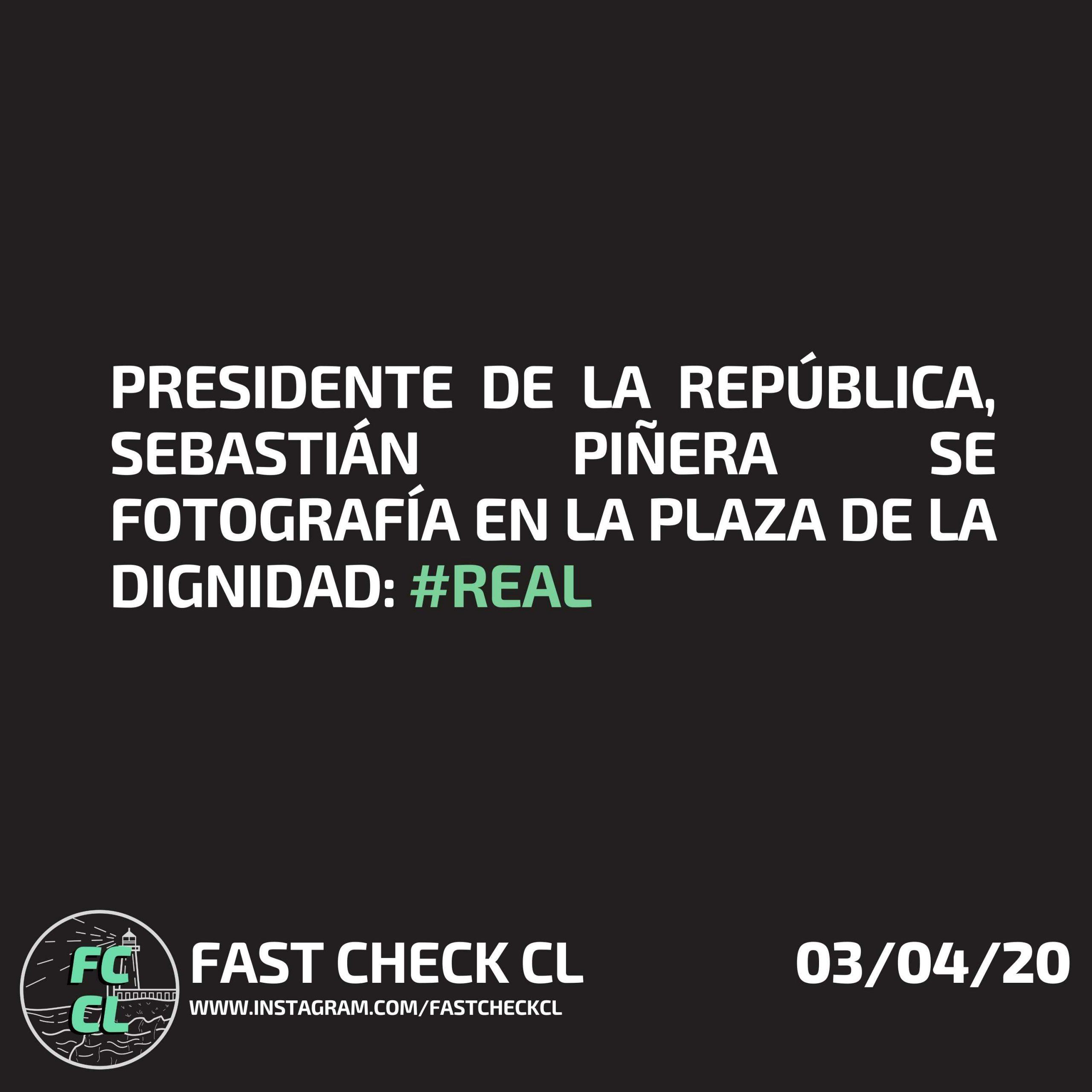Presidente de la República, Sebastián Piñera se fotografía en la Plaza de la Dignidad: #Real