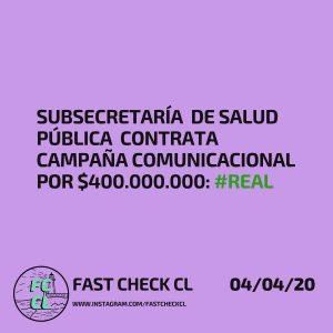 Subsecretaría de Salud Pública contrata campaña comunicacional por $400.000.000: #Real