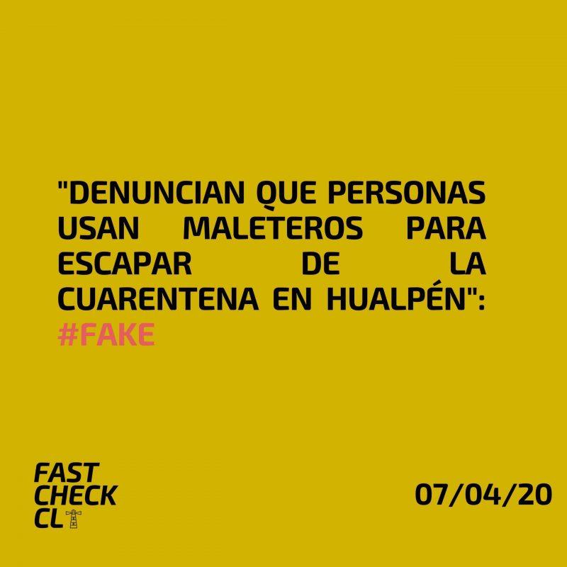 """""""Denuncian que personas usan maleteros para escapar de la cuarentena en Hualpén"""": #Fake"""