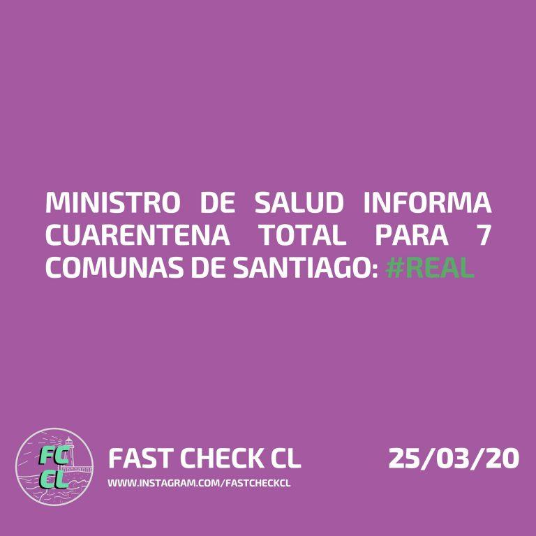 Ministro de Salud informa cuarentena total para 7 comunas de santiago:#Real