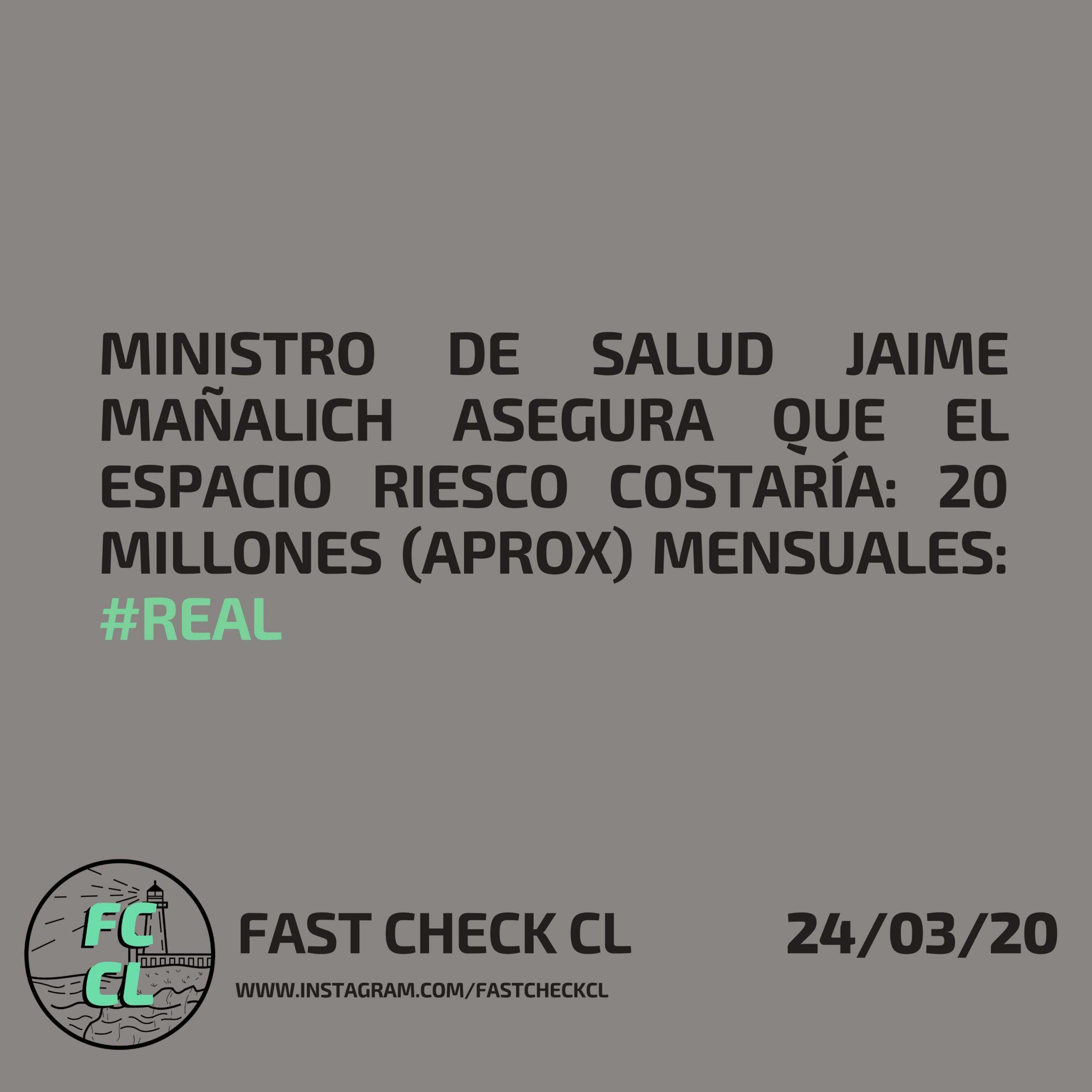 Ministrode Salud Jaime Mañalich asegura que el Espacio Riesco costaría: 20 millones (aprox) mensuales: #Real