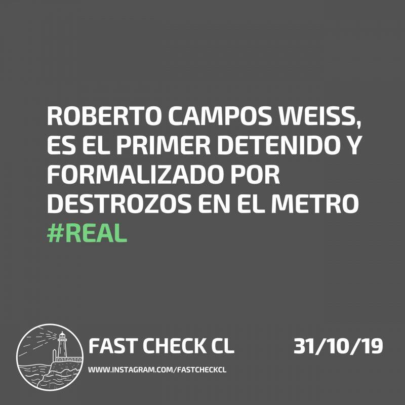 Roberto Campos Weiss es el primer detenido y formalizado por destrozos en el Metro: #Real