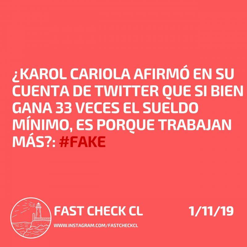 Karol Cariola afirmó en su cuenta de twitter que si bien gana 33 veces el sueldo mínimo es porque trabaja más: #Fake
