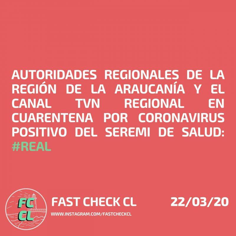 Autoridades regionales de la región de la Araucanía y el canal TVN regional en cuarentena por coronavirus positivo del seremi de Salud: #Real