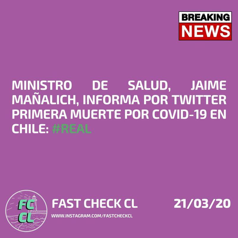 Ministro de Salud, Jaime Mañalich, informa por Twitter primera muerte por Covid-19 en Chile: #Real