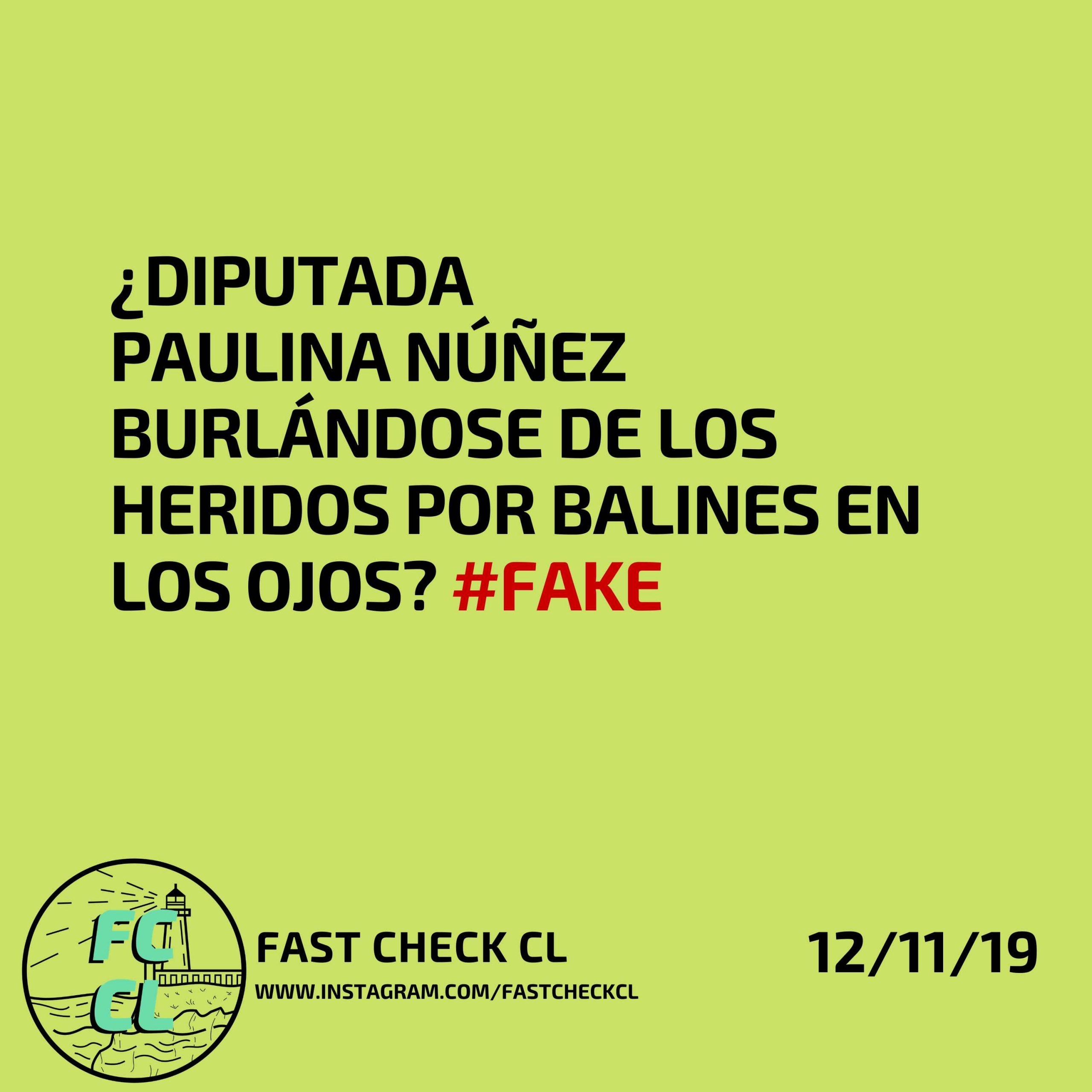 Read more about the article Diputada Paulina Núñez burlándose de los heridos por balines en los ojos:  #Fake