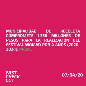Municipalidad de Recoleta compromete 1.556 millones de pesos para la realización del Festival Womad por 4 años (2020-2024): #Real
