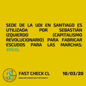 Sede de la UDI en Santiago es utilizada por Sebastián Izquierdo (Capitalismo Revolucionario) para fabricar escudos para las marchas: #Real
