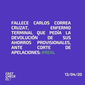 Fallece Carlos Correa Cruzat, enfermo terminal que pedía la devolución de sus ahorros provisionales ante Corte de Apelaciones: #Real