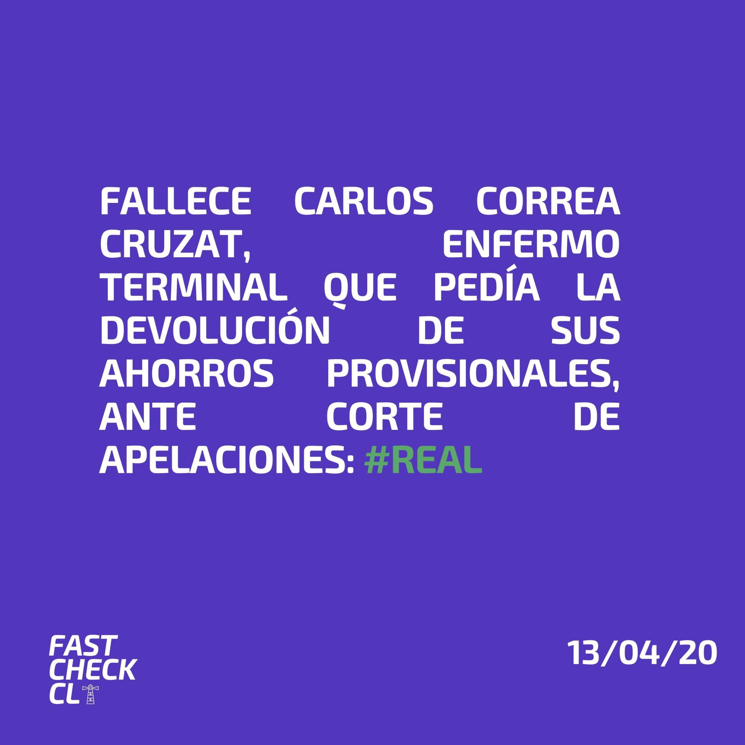 Read more about the article Fallece Carlos Correa Cruzat, enfermo terminal que pedía la devolución de sus ahorros provisionales ante Corte de Apelaciones: #Real