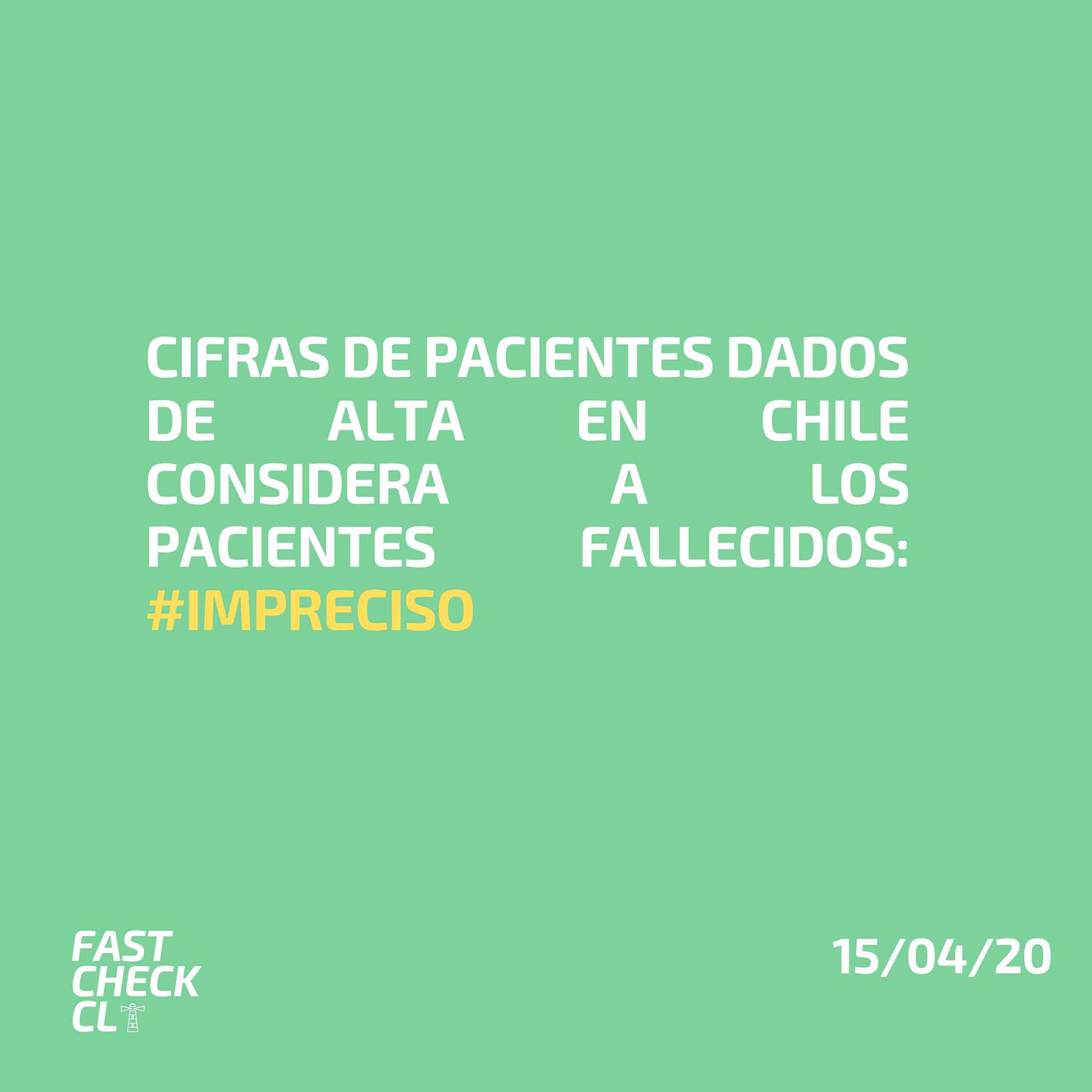 Cifras de pacientes dados de alta en Chile considera a los pacientes fallecidos: #Impreciso