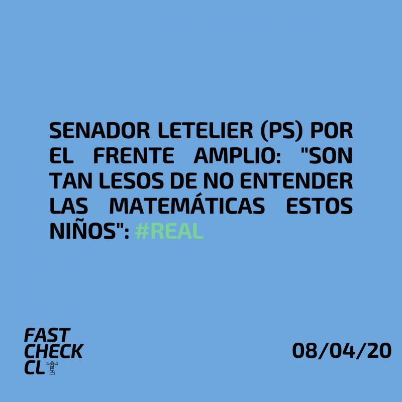 """Senador Letelier (PS) por el Frente Amplio: """"Son tan lesos de no entender las matemáticas estos niños"""": #Real"""