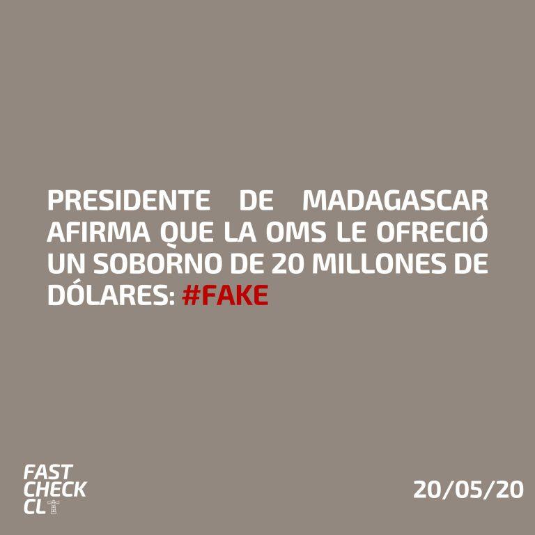 Presidente de Madagascar afirma que la OMS le ofreció un soborno de 20 millones de dólares: #Fake