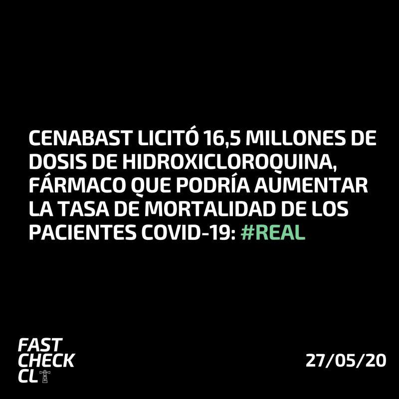 CENABAST licitó 16,5 millones de dosis de hidroxicloroquina, fármaco que podría aumentar la tasa de mortalidad de los pacientes Covid-19: #Real