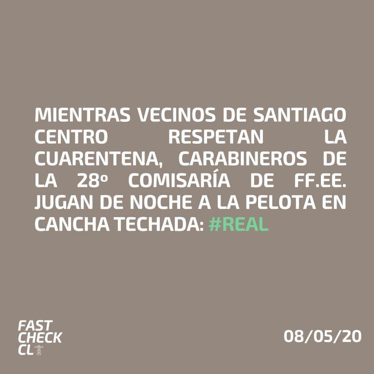 Mientras vecinos de Santiago Centro respetan la cuarentena, carabineros de la 28 Comisaría de FF.EE. jugan de noche a la pelota en cancha techada: #Real