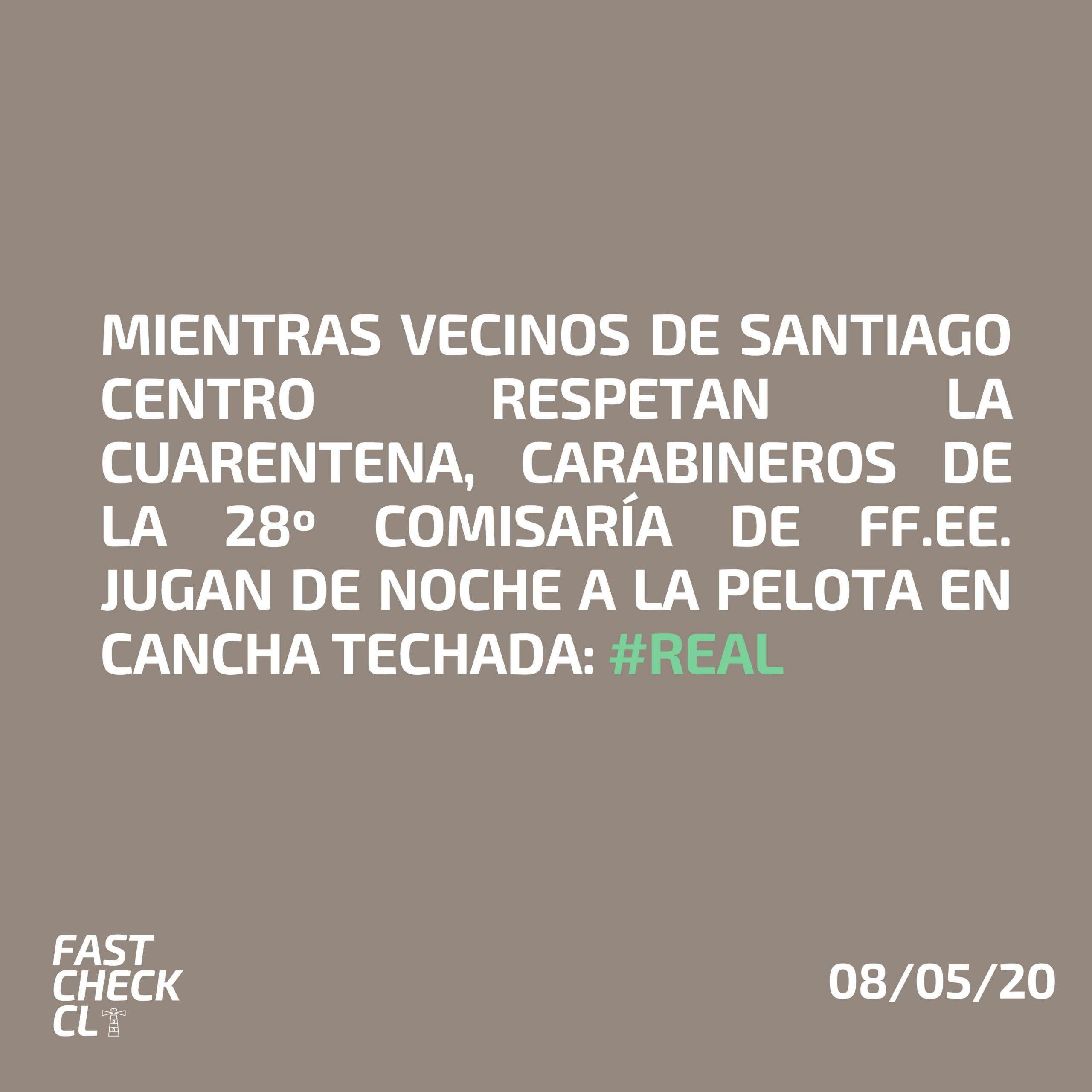 Read more about the article Mientras vecinos de Santiago Centro respetan la cuarentena, carabineros de la 28 Comisaría de FF.EE. jugan de noche a la pelota en cancha techada: #Real