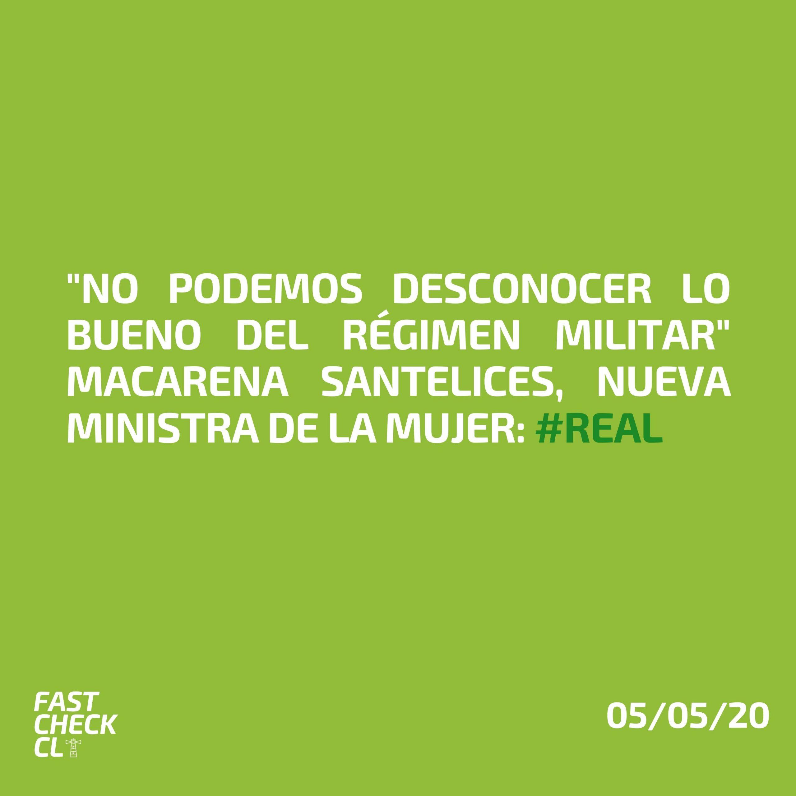 "Read more about the article ""No podemos desconocer lo bueno del régimen militar"" Macarena Santelices: #Real"