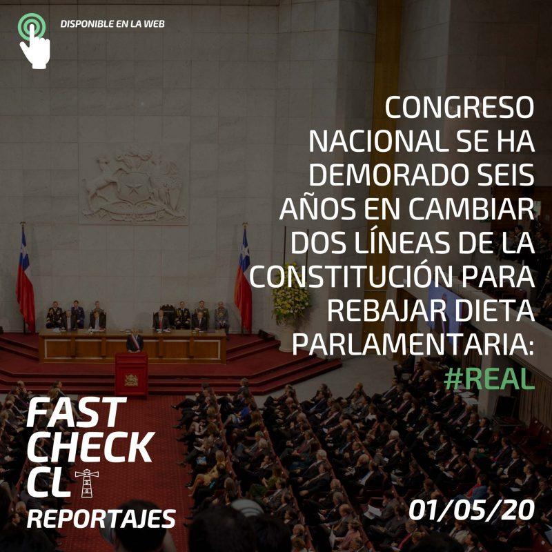 Congreso Nacional se ha demorado seis años en cambiar dos líneas de la Constitución para rebajar la dieta parlamentaria: #Real