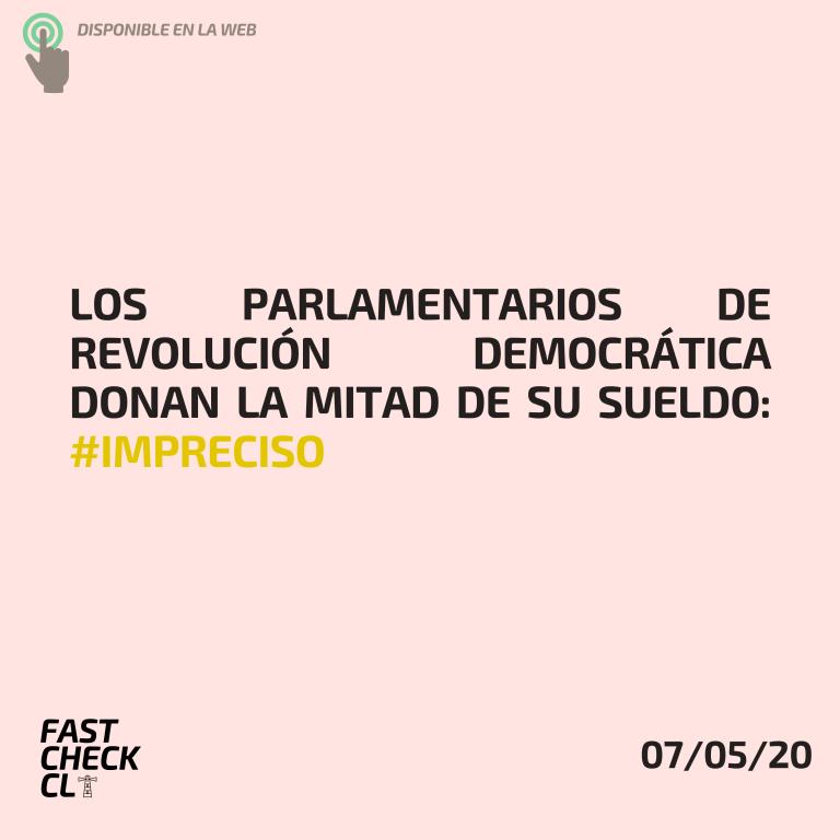 Los parlamentarios de Revolución Democrática donan la mitad de su sueldo: #Impreciso