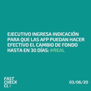 Ejecutivo ingresa indicación para que las AFP puedan hacer efectivo el cambio de fondo hasta en 30 días: #Real