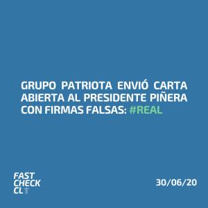 Grupo patriota envió carta abierta al presidente Piñera con firmas falsas: #Real
