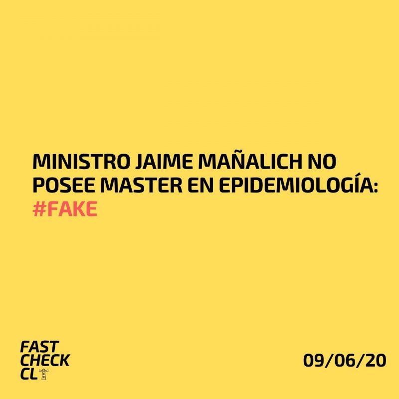 Ministro Jaime Mañalich no posee Master en Epidemiología: #Fake