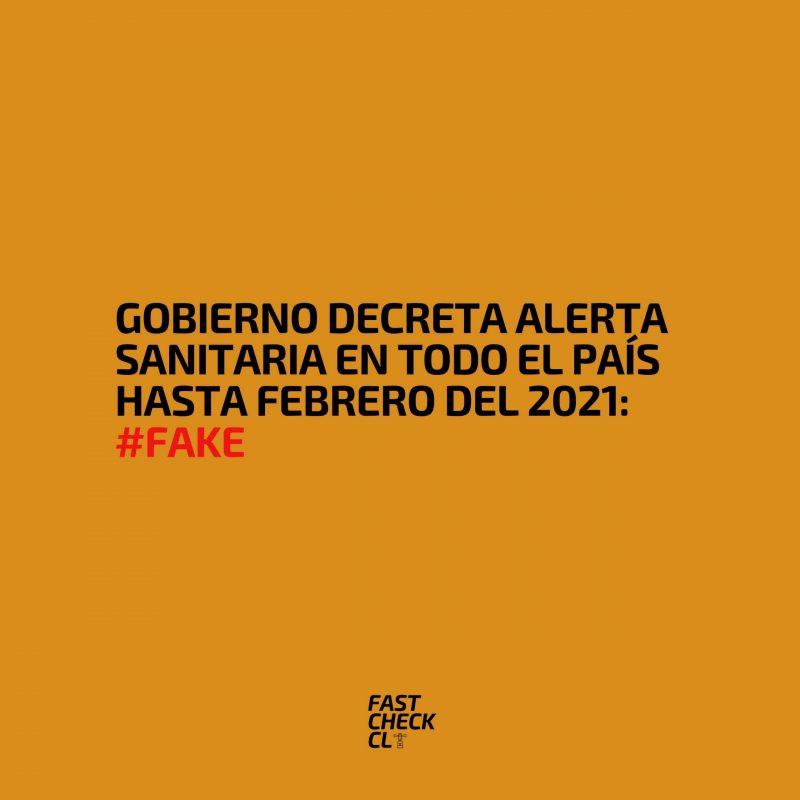 Gobierno decreta alerta sanitaria en todo el país hasta febrero del 2021: #Fake