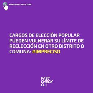 Cargos de elección popular pueden vulnerar su límite de reelección en otro distrito o comuna: #Impreciso