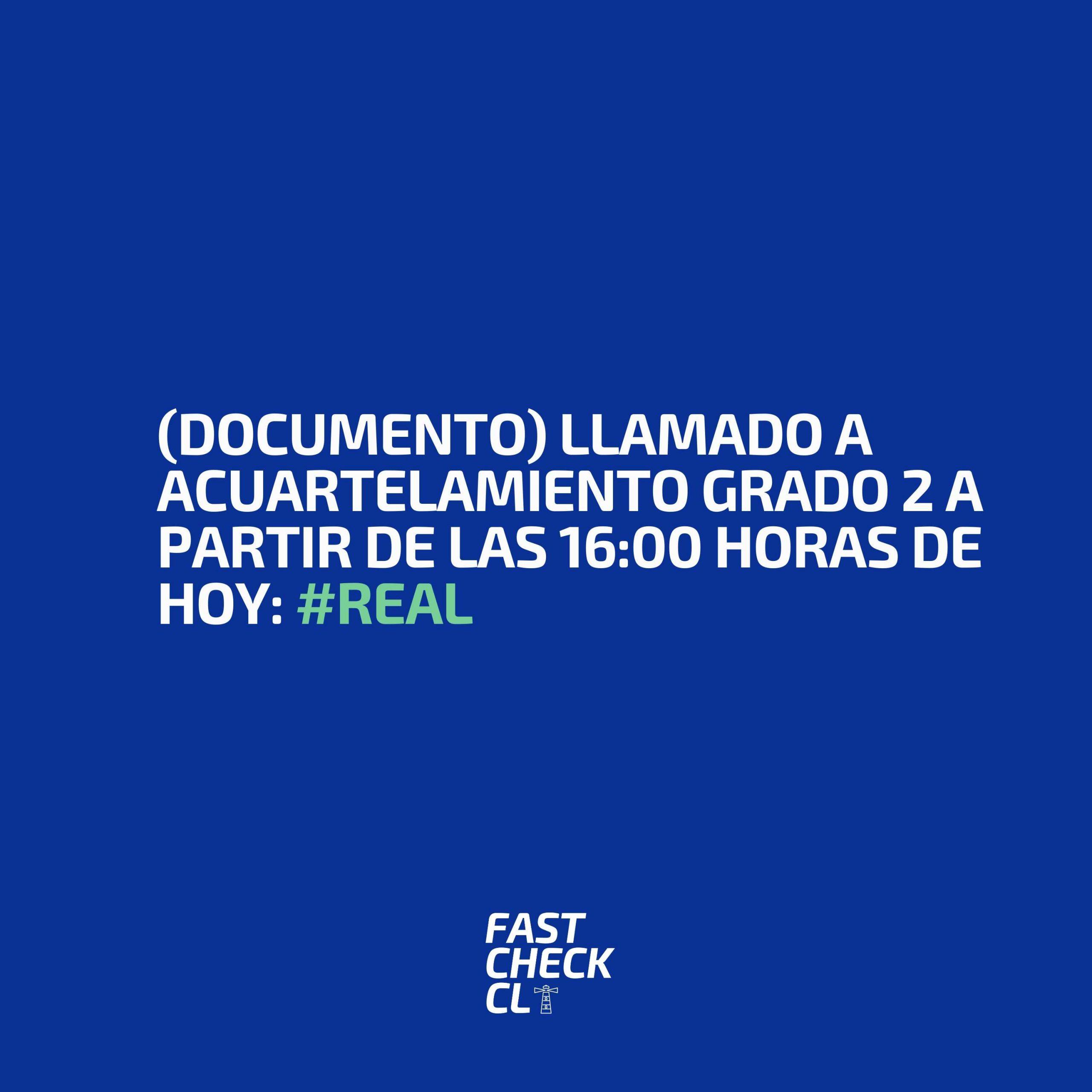 Read more about the article (Documento) Llamado a acuartelamiento grado 2 a partir de las 16:00 horas de hoy: #Real