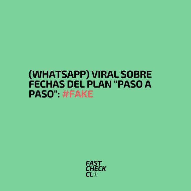 """(WhatsApp) Viral sobre fechas del Plan """"Paso a Paso"""": #Fake"""