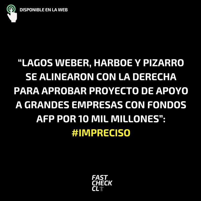 """Read more about the article """"Lagos Weber, Harboe y Pizarro se alinearon con la derecha para aprobar proyecto de apoyo a grandes empresas con fondos AFP por 10 mil millones"""": #Impreciso"""