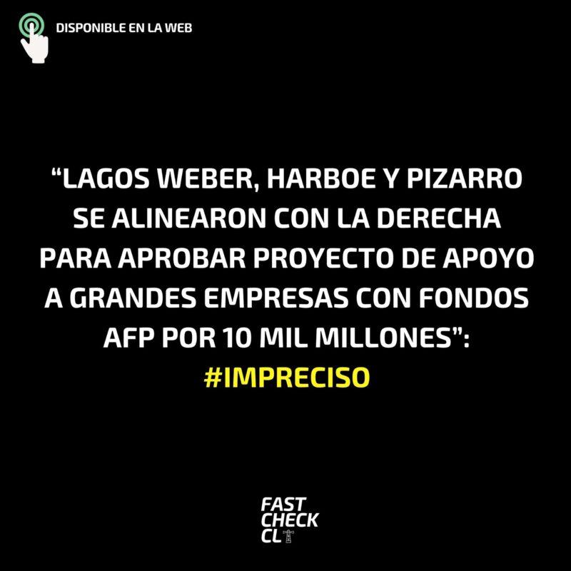 """""""Lagos Weber, Harboe y Pizarro se alinearon con la derecha para aprobar proyecto de apoyo a grandes empresas con fondos AFP por 10 mil millones"""": #Impreciso"""