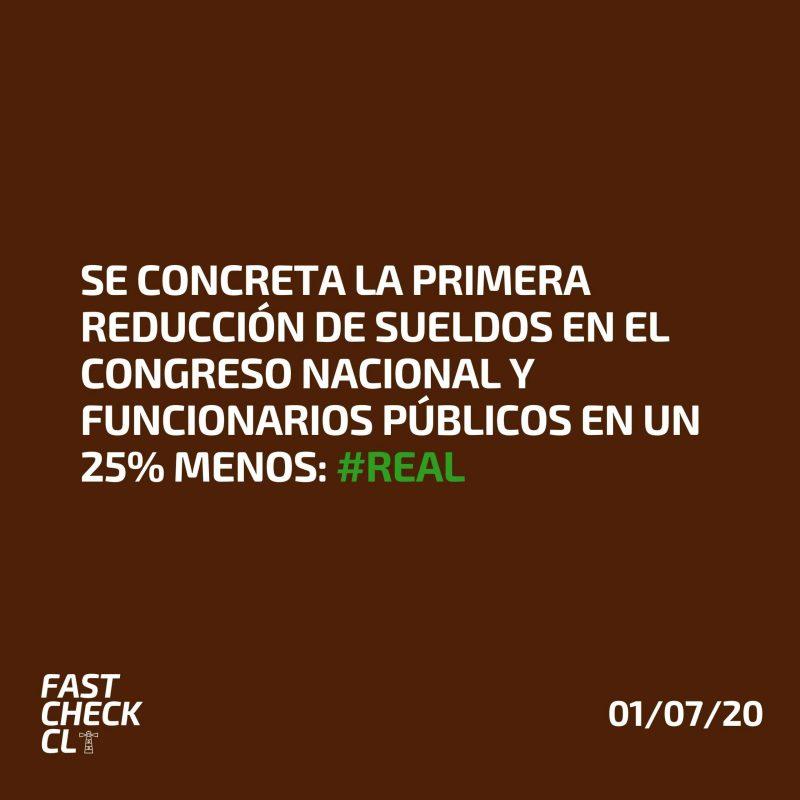 Se concreta la primera reducción de sueldos en el Congreso Nacional y funcionarios públicos en un 25% menos: #Real