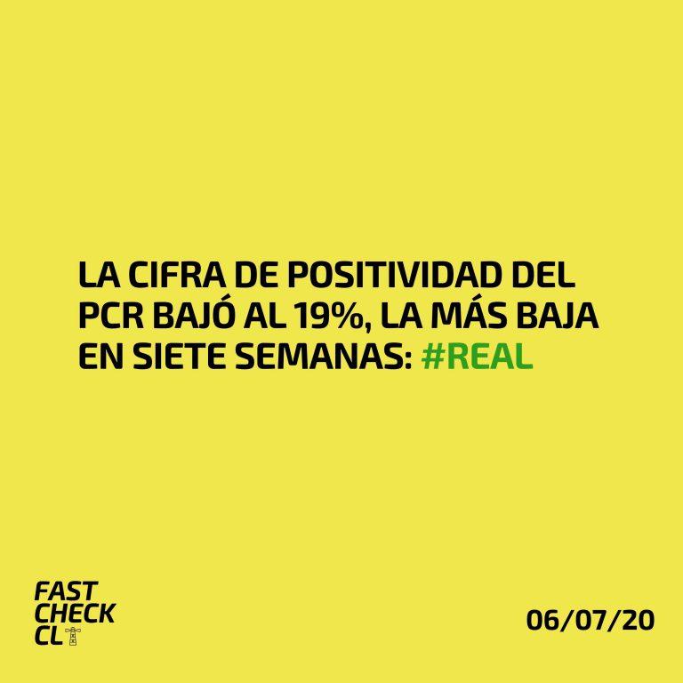La cifra de positividad del PCR bajó al 19%, la más baja en siete semanas: #Real