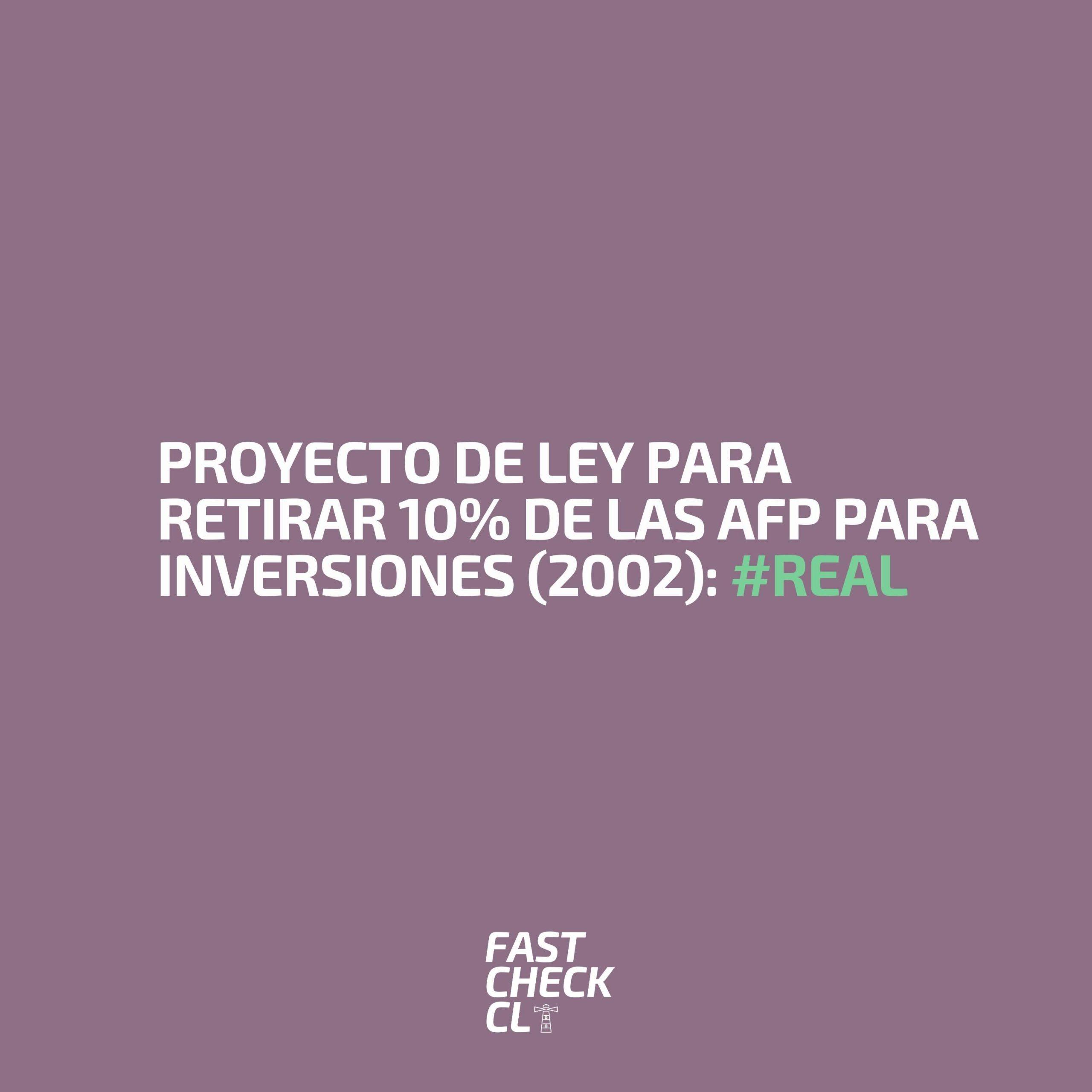 Read more about the article Proyecto de ley para retirar 10% de las AFP para inversiones (2002): #Real