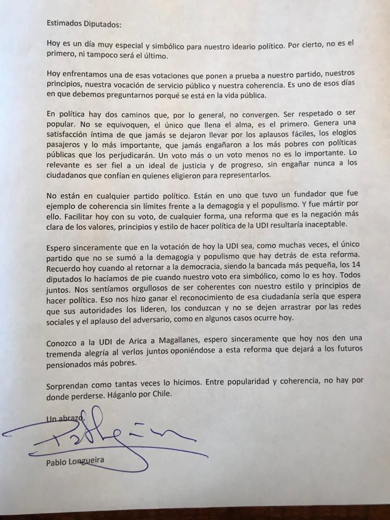 Carta Pablo Longueira votación AFP Fast Check CL