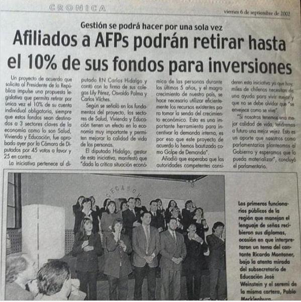 Proyecto de ley para retirar el 10% de las AFP en el año 2002, idea de Renovación Nacional.
