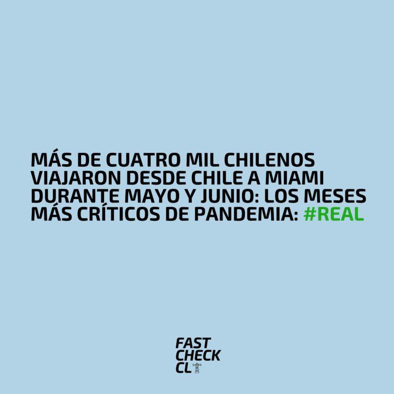 Más de cuatro mil chilenos viajaron desde Chile a Miami durante mayo y junio: los meses más críticos de pandemia: #Real