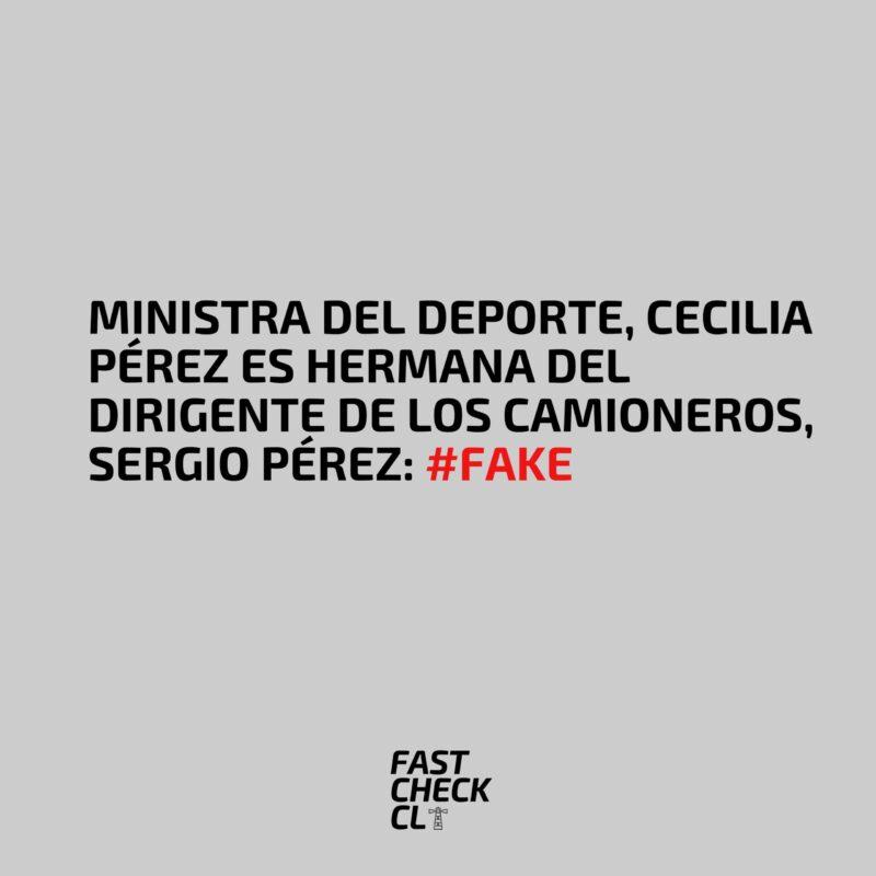 Ministra del Deporte, Cecilia Pérez es hermana del dirigente de los camioneros, Sergio Pérez: #Fake