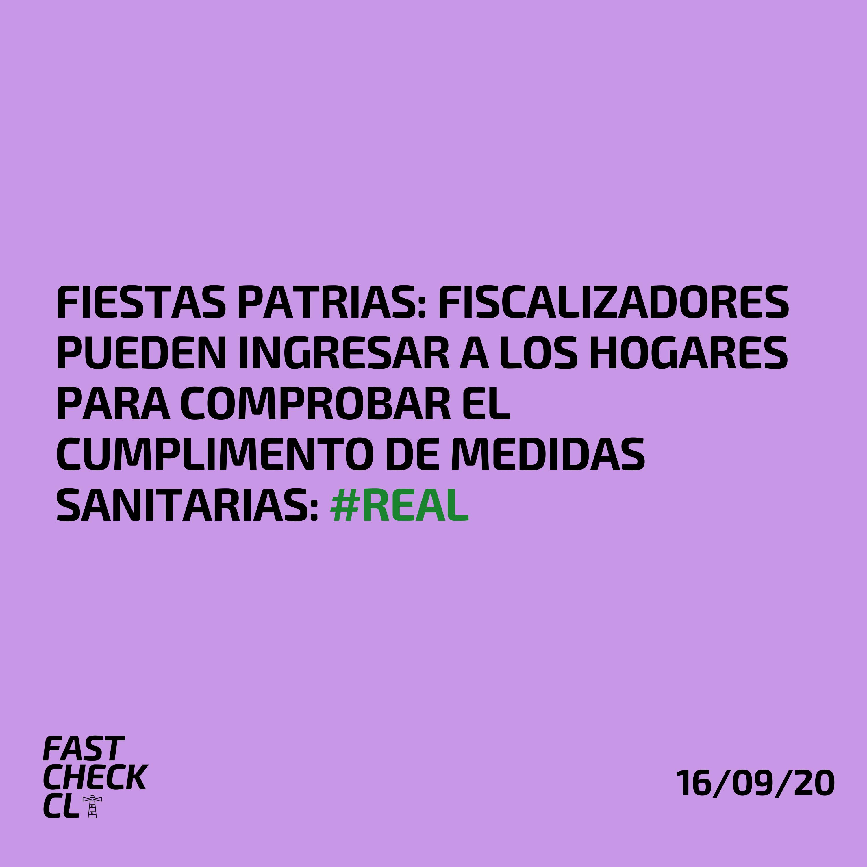 Fiestas Patrias: Fiscalizadores pueden ingresar a los hogares para comprobar el cumplimento de medidas sanitarias: #Real