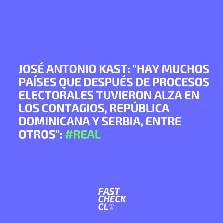 """José Antonio Kast: """"Hay muchos países que después de procesos electorales tuvieron alza en los contagios, República Dominicana y Serbia, entre otros"""": #Real"""