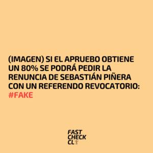 (Imagen) Si el Apruebo obtiene un 80% se podrá pedir la renuncia de Sebastián Piñera con un referendo revocatorio: #Fake
