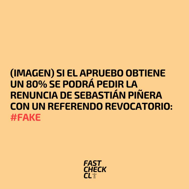 Read more about the article (Imagen) Si el Apruebo obtiene un 80% se podrá pedir la renuncia de Sebastián Piñera con un referendo revocatorio: #Fake