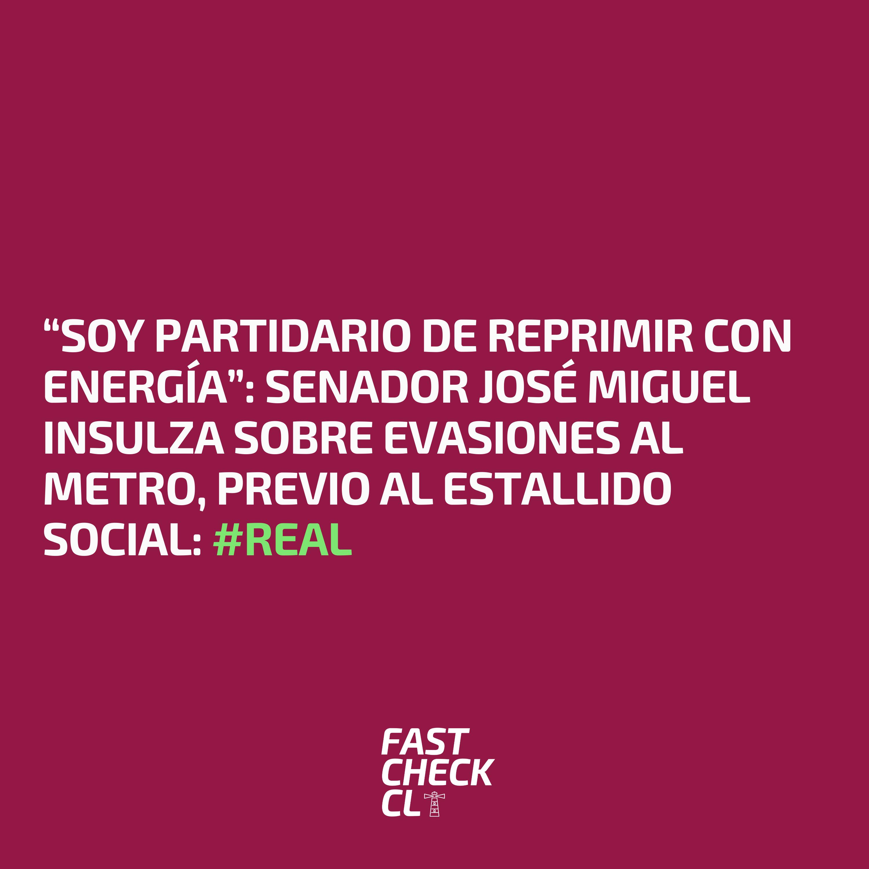 """""""Soy partidario de reprimir con energía"""": Senador José Miguel Insulza sobre evasiones al metro, previo al Estallido Social: #Real"""