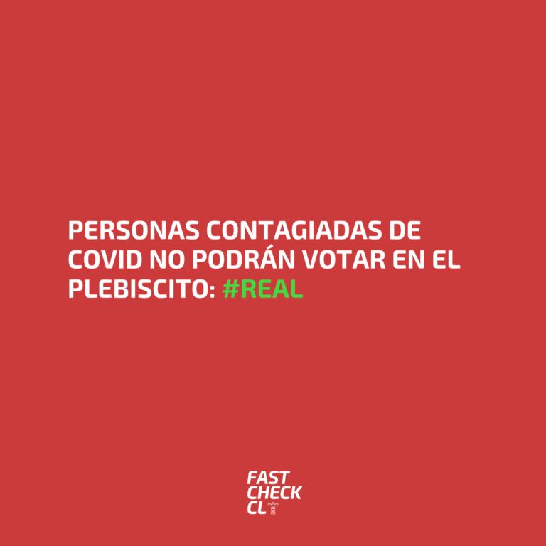 Personas contagiadas de covid no podrán votar en el plebiscito: #Real