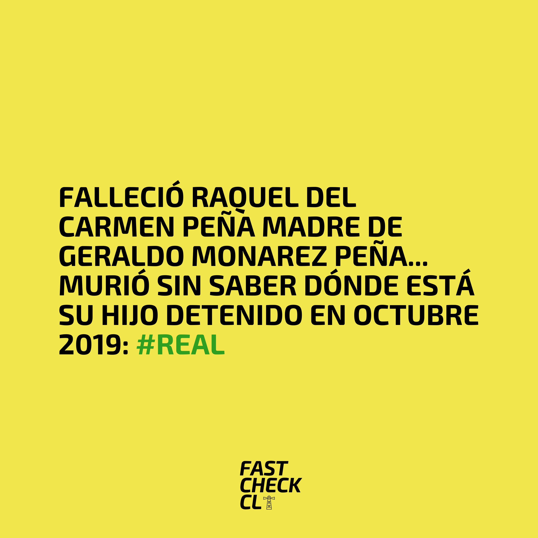 Falleció Raquel del Carmen Peña madre de Geraldo Monarez Peña… murió sin saber dónde está su hijo detenido en octubre 2019: #Real