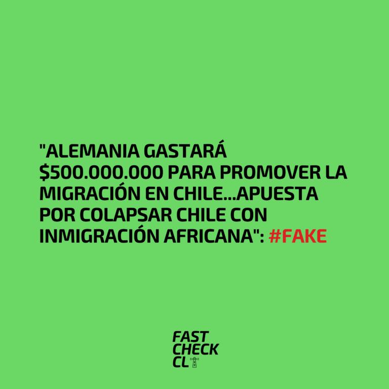 """""""Alemania gastará $500.000.000 para promover la migración en Chile…Apuesta por colapsar Chile con inmigración africana"""": #Fake"""