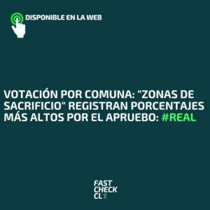 """Votación por Comuna: """"Zonas de Sacrificio"""" registran porcentajes más altos por el Apruebo: #Real"""